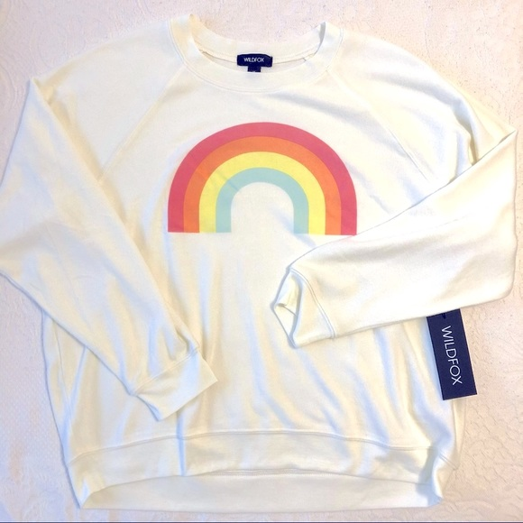 Wildfox Womens Size Small After The Rain Sommers Sweatshirt Rainbow Cream $108